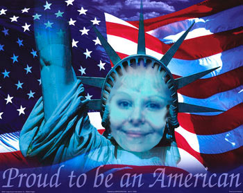 Digital Art of Susana's faced superimposed on the Statue of Liberty with the American flag in the background