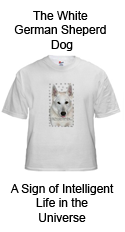 White German Shepherd Dog T-Shirt of Cat-Dog Designs from Write Way Designs Art Gallery and Gift Shop at http://www.cafepress.com/writewaydesigns